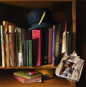 a bowler, some books, and seraphine (sold) by dan brown