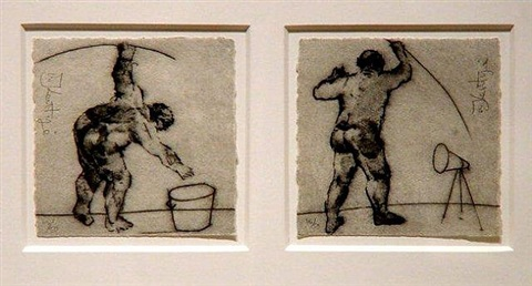 untitled (bucket), untitled (megaphone) by william kentridge