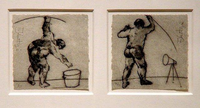 untitled (bucket), untitled (megaphone) by william kentridge