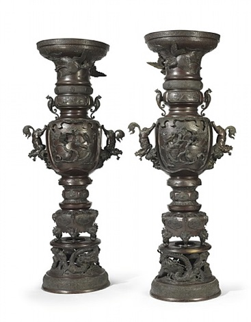 a pair of monumental incense burners