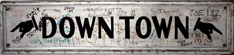 downtown vintage wooden sign by taki 183