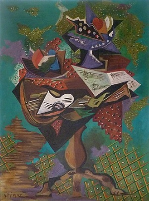 still life with guitar on gueridon by serge ferat