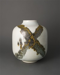 vase, ice crackle with iron yellow by brother thomas