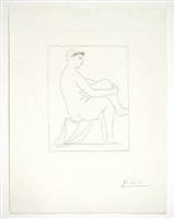 femme nue couronee de fleurs, from the vollard suite by pablo picasso
