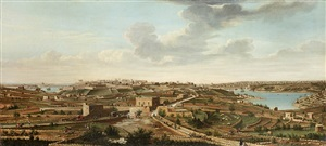 a set of seven views of valletta, malta and its environs: 1. view of valletta, seen from the island's interior, near floriana by alberto pullicino