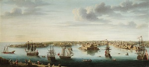 a set of seven views of valletta, malta and its environs: 2. view of the grand harbour, from ricasoli fort towards the heights of corradino by alberto pullicino
