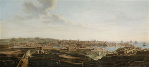 a set of seven views of valletta, malta and its environs: 3. view of valletta , senglea and birgu, and the santa margherita lines from the cottonera gate, looking towards san salvatore by alberto pullicino