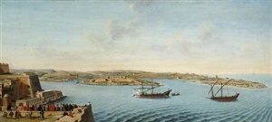 a set of seven views of valletta, malta and its environs: 4. view of marsamxett, fort manoel and dragut point, across st andrew's bastion, from the auberge d'allemagne by alberto pullicino