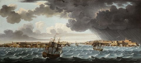 a set of seven views of valletta, malta and its environs: 5. the entrance to malta's grand harbour with ships seeking safety from a north-easterly gale by alberto pullicino