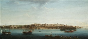 a set of seven views of valletta, malta and its environs: 7. view of valletta from fort st. angelo, of the grand harbour with the galleys of the order and smaller craft alongside the barriera by alberto pullicino