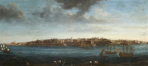 a set of seven views of valletta, malta and its environs: 6. view of valletta from marsamxett harbour, overlooking fort manoel by alberto pullicino
