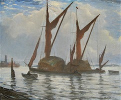 hay barges on the thames at deptford by christopher richard wynne nevinson