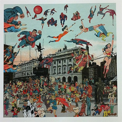 piccadilly circus- the convention of comic book characters by peter blake