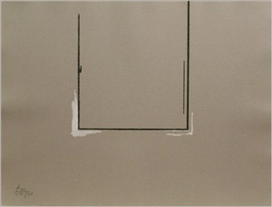 gray open with white paint by robert motherwell