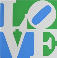 book of love #8 (blue, green and white – earth love) by robert indiana
