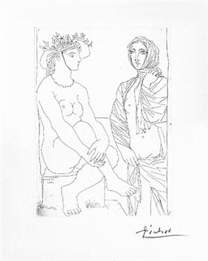 au bain, femme au chapeau à fleurs et femme drapée by pablo picasso