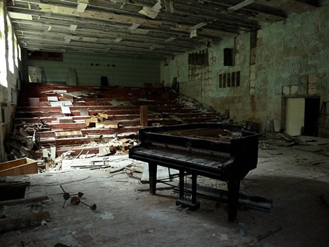 music classroom in chernobyl by diana thater