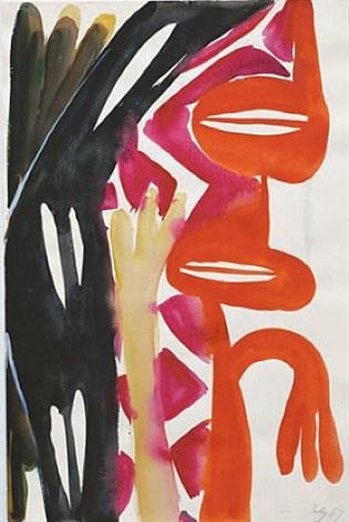 ohne titel (rot - schwarz - mit hand) by ernst wilhelm nay