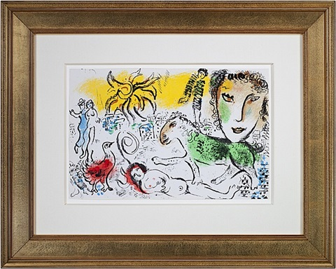 20th c xxe siecle, m699 (self-portrait w/sun over village) by marc chagall