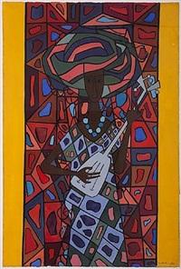 mujer y mandolina by cundo bermúdez