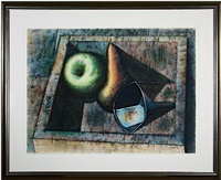 bodegon - still life: apple, pear & funnel in box by armando morales
