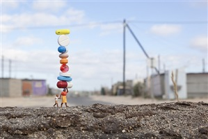 balancing act by slinkachu