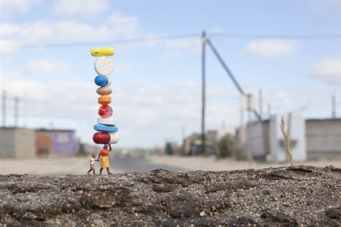 balancing act by slinkachu