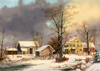 winter in the country, a cold morning by george henry durrie