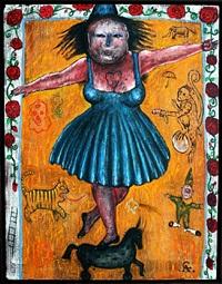 mujer de circo sobre caballo enano by alejandro colunga