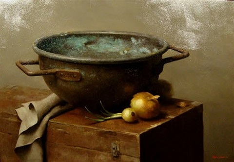 copper pot and onions by sarah k. lamb