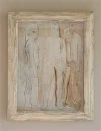 three figures (sepia on wood) by barbara hepworth