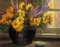 late afternoon, petite sunflowers with lavender by charles taylor bowling