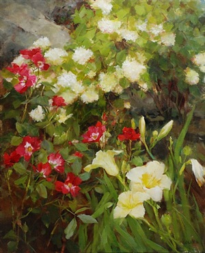 lilies and roses by kathy anderson