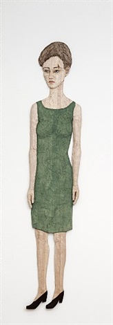 woman with green dress (relief figure) by stephan balkenhol