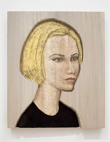 woman, blond hair, black shirt (big relief) by stephan balkenhol