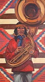 the sousaphone player... for the santa fe railway all-indian marching band by dennis ziemienski