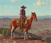 cowboy and horse on hilltop by fred darge