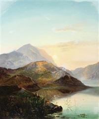 scottish loch, sunset by charles robert leslie
