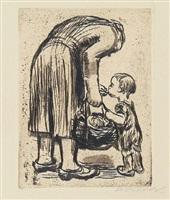 standing mother feeding her little boy by käthe kollwitz