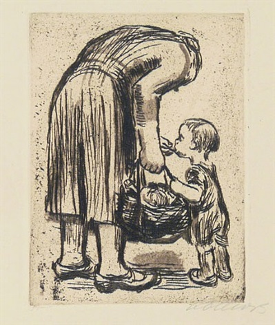 standing mother feeding her little boy by käthe kollwitz
