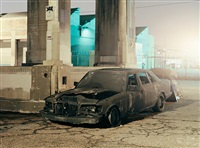 burned car, los angeles, from: down these mean streets by will steacy