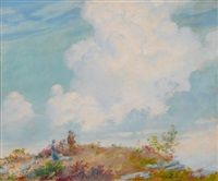 pink cloud over mountain by charles courtney curran