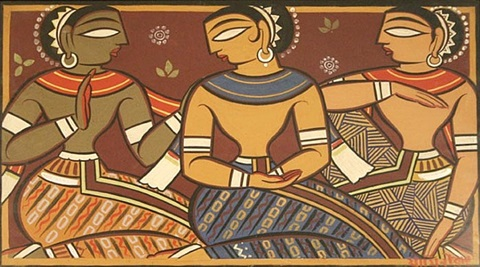 untitled (three figures) by jamini roy