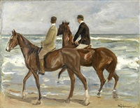 zwei reiter am strand nach links by max liebermann