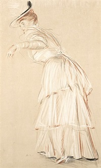 portrait of madame helleu in her yachting dress, circa 1905 by paul césar helleu
