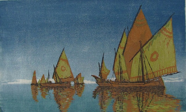 ausfahrt (venezianische fischerboote) by carl theodor thiemann