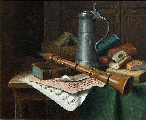 still life with clarinet by william michael harnett