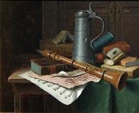 still life with clarinet by william michael harnett