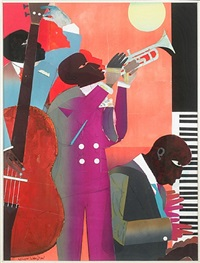 up at minton's by romare bearden