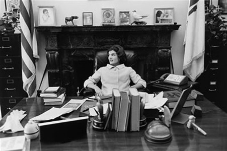 jacqueline kennedy at john's senate desk by mark shaw